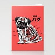 Pug Anatomy Stationery Cards
