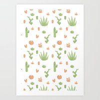 Cacti Pattern Green/Oran… Art Print