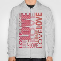The Word Love In Red With Hearts Hoody
