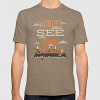 Always See The Beauty Mens Fitted Tee Tri-Coffee SMALL