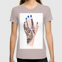 Modern Watercolor Hand  … Womens Fitted Tee Cinder SMALL