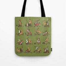 Rabbits, foxes and roe deers - green Tote Bag