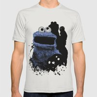 Monster Madness: Cookie Monster Mens Fitted Tee Silver SMALL