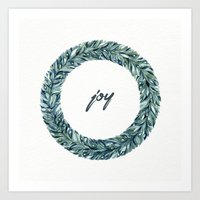 Christmas Wreath - Joy Art Print