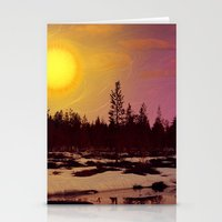 Day - From Day And Night Painting Stationery Cards