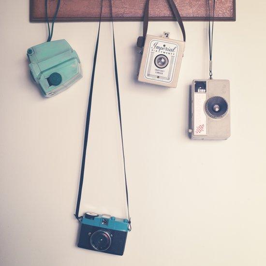 Hanging Retro Cameras  Art Print
