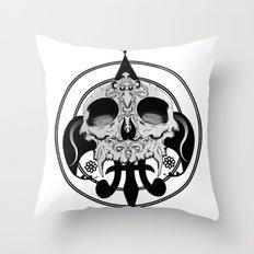 skull and pen Throw Pillow