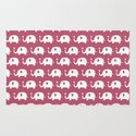 Elephants in love (Plum) Rug