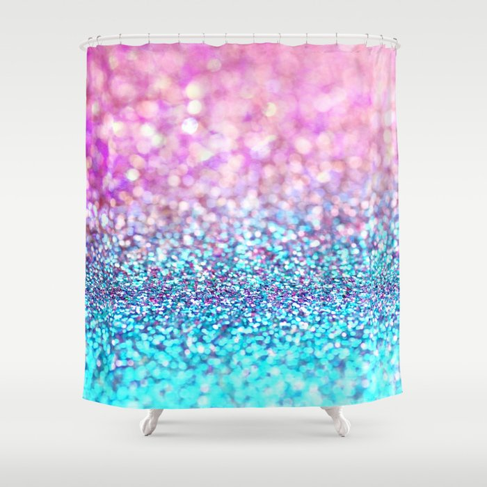 Pastel Sparkle Photograph Of Pink And Turquoise Glitter Shower Curtain By Sylvia Cook