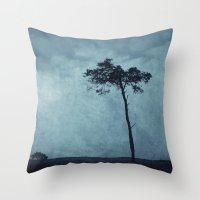 Blue Trees  Throw Pillow
