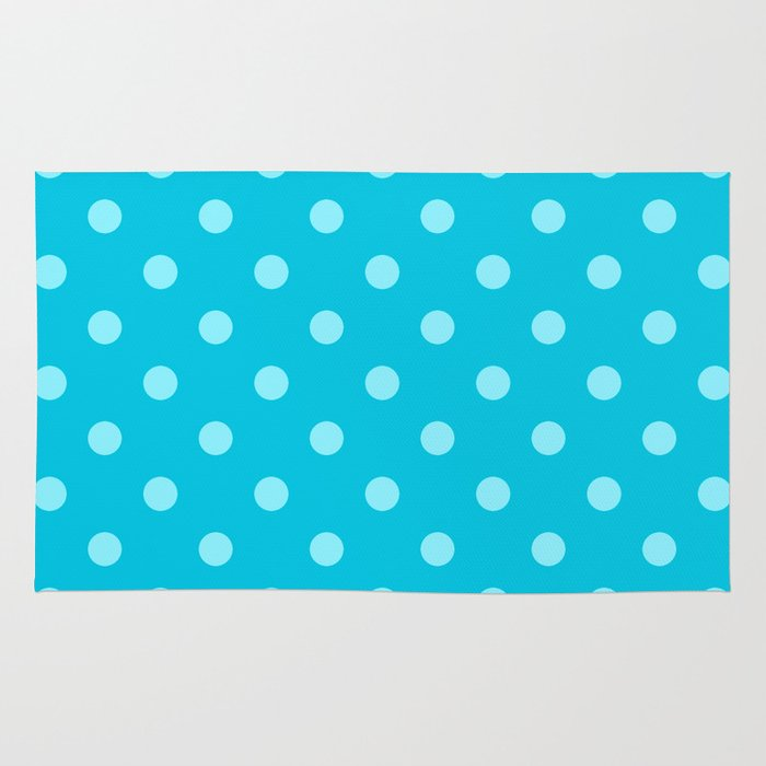 Aqua Blue Polka Dots Rug By KCavender Designs