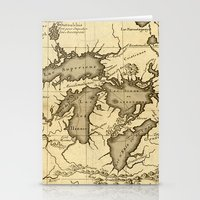 Great Lakes Map - 1737 Stationery Cards