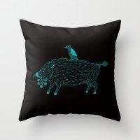 Blue Beast Throw Pillow