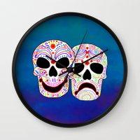 Comedy-Tragedy Colorful Sugar Skulls Wall Clock