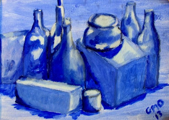Study of Boxes and Bottles Art Print