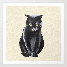 sad cat  Art Print