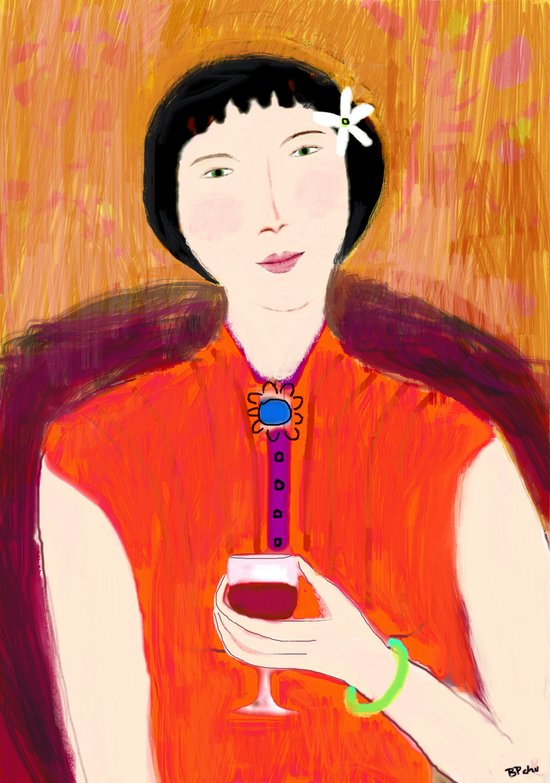 Woman and Wine Art Print
