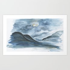 Sketch of Ólafsfjörður at night  Art Print