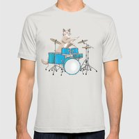 Cat Playing Drums - Blue Mens Fitted Tee Silver SMALL