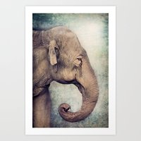The smiling Elephant Art Print
