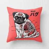 Pug Anatomy Throw Pillow