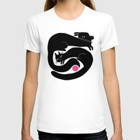 YIN YANG WITH PINK BALL Womens Fitted Tee White SMALL