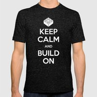 Keep Calm and Build On Mens Fitted Tee Tri-Black SMALL
