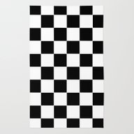 Rug featuring Checker Cross Squares Bl… by Beautiful Homes