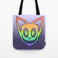Rainbow Cat Head (black outline) Tote Bag
