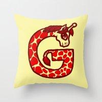 G Is For Giraffe Throw Pillow
