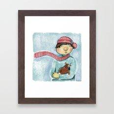 Boy with his teddy bear. Framed Art Print
