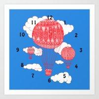 Balloon Clock Art Print