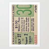 Vintage ticket Art Print