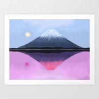 Two Fuji - Painting Art Print