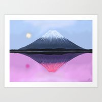 Two Fuji - Painting Art Print