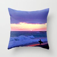 Sunset Skimboarder Throw Pillow