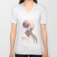 Fashion illustration profile portrait gold black white markers and watercolors Unisex V-Neck