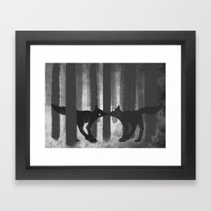 foxes in the forest Framed Art Print