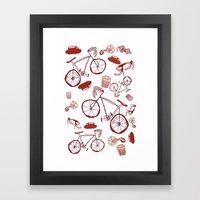 Bikes and Coffee Framed Art Print