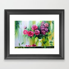 Bouquet Of Red Roses For… Framed Art Print
