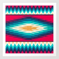 SURF GIRL CHEVRON Art Print