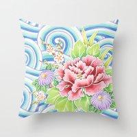 Kimono Bouquet Throw Pillow