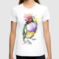 Red Lady Gouldian Finch Womens Fitted Tee White SMALL
