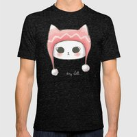 Stay Chill Cat Mens Fitted Tee Tri-Black SMALL