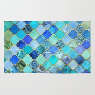 Rug featuring Cobalt Blue, Aqua & Gold… by Micklyn