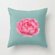 Rose on mint Throw Pillow