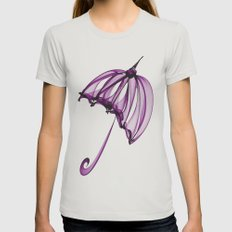 Purple Umbrella Womens Fitted Tee Silver SMALL