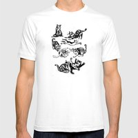 Cat Gestures Mens Fitted Tee White SMALL