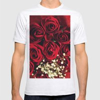 Red Roses Mens Fitted Tee Ash Grey SMALL