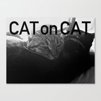 Cat on Cat Canvas Print